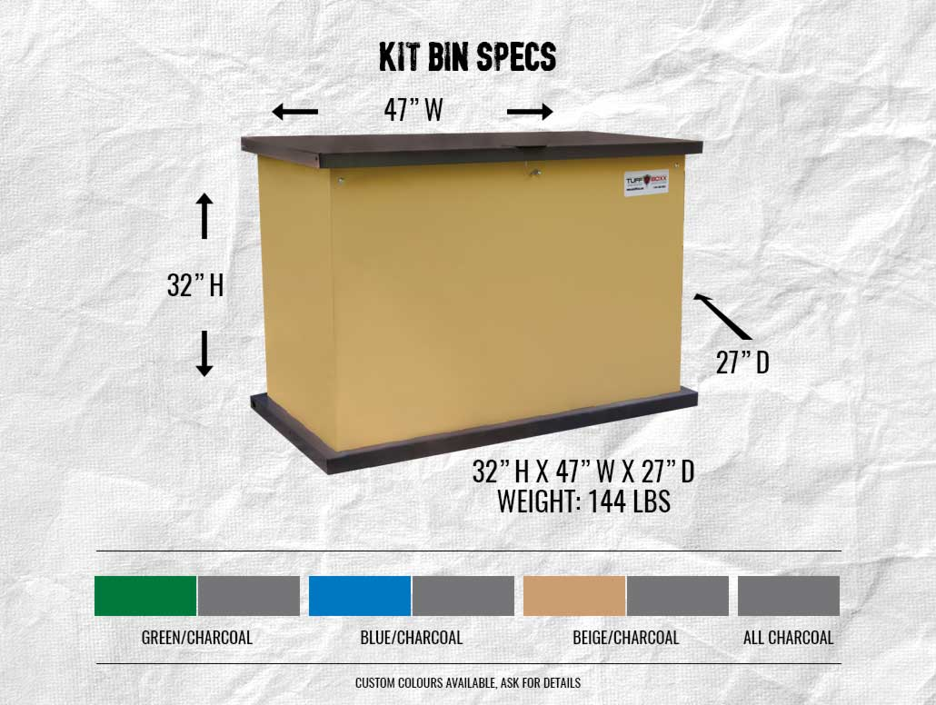 Kit Bin Specs. 32 inches high by 47 inches wide by 27 inches deep. Available in green/charcoal, blue/charcoal, beige/charcoal or all charcoal. Custom colours available, ask for details.